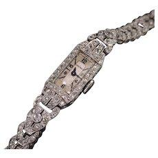Antique Art Deco Platinum Diamond Vulcain Watch