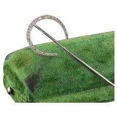 Edwardian Platinum French Horse Shoe Diamond Rose Cut Stick Pin