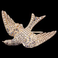 Antique Victorian 18K Rose Gold, Rose Cut Diamond, Seed Pearl & Sapphire Bird Brooch