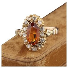 Antique Victorian 14K Yellow Gold Citrine & Diamond Daisy Cluster Ring