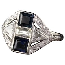 Art Deco Platinum Diamond and Sapphire Engagement Ring