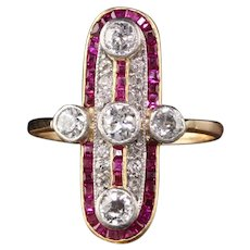 Antique Victorian 18K Yellow Gold Diamond and Ruby Shield Ring