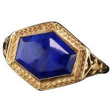 Antique Art Deco 14K Yellow Gold Lapis Lazuli Ring