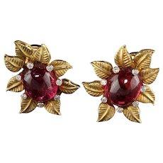 Toros Vintage 18 Karat Yellow Gold Diamond and Tourmaline Flower Earrings