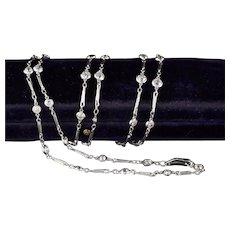 Antique Art Deco Platinum Diamonds by the Yard Necklace