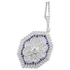 Vintage Estate 18K White Gold Diamond and Sapphire Necklace