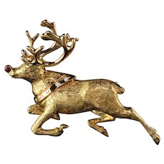 Vintage Tiffany & Co. 18K Yellow Gold Rudolph Reindeer Diamond Pin