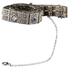 Antique Art Deco 14K White Gold Diamond and Sapphire Bracelet