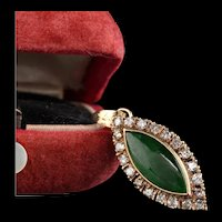Antique Victorian 18K Yellow Gold Diamond and Jade Pendant