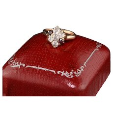 Antique Victorian 14K Rose Gold Old Miner Cut Diamonds and Ruby Engagement Ring
