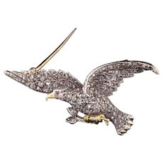 Antique Victorian 18K Yellow Gold Rose Cut Diamond Eagle Pin