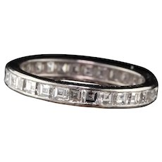 Lambert Brothers Antique Art Deco Platinum Carre Cut Diamond Eternity Band - Size 6