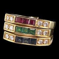 Retro 18K Yellow Gold Diamond, Emerald, Sapphire, and Ruby Harem Ring