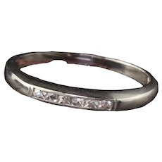 Antique Art Deco 18K White Gold French Cut Diamond Half Eternity Band