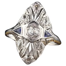 Antique Art Deco Platinum Diamond and Sapphire Shield Ring