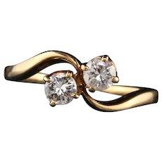 Retro 18K Yellow Gold Diamond Toi Et Moi Ring