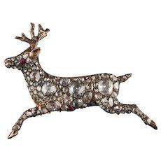 Antique Georgian 12K Rose Gold Rose Cut Diamond Deer Pin