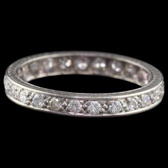 Art Deco Platinum & Diamond Eternity Band - Size 6.5