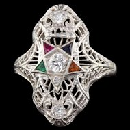 Art Deco 18K White Gold Diamond and Gemstone Masonic Shield Ring