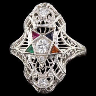Art Deco 18K White Gold Diamond and Gemstone Masonic Shield Ring