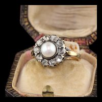 Victorian 18K Yellow Gold Rose Cut Diamond & Pearl Cluster Ring