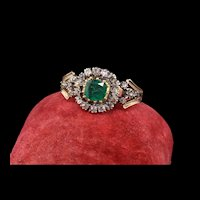 Antique Georgian 18K Yellow Gold and Silver Top Rose Cut Diamond and Emerald Engagement Ring