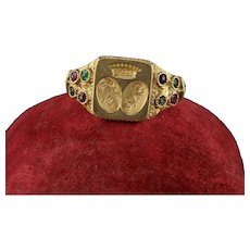 Antique Victorian 18K Yellow Gold Emerald and Ruby Ring