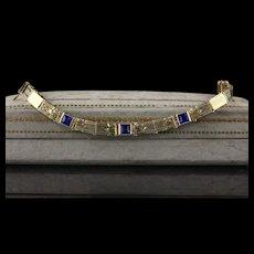 Antique Art Deco 14K Yellow Gold Sapphire Bracelet