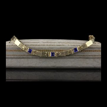 Antique Art Deco 14K Yellow Gold Sapphire Bracelet