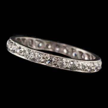 Antique Art Deco Platinum Old Mine Cut Eternity Band