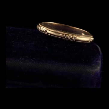Antique Art Deco 14K Yellow Gold Wedding Band - Size 6.5