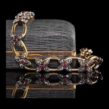 Antique Victorian 18K Yellow Gold and Silver Rose Cut Diamond and Ruby Bracelet
