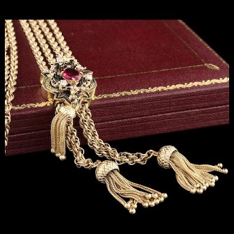 Victorian 14K Yellow Gold, Diamond & Red Glass Slider Rope Chain Necklace