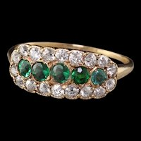 Antique Victorian Reiman 14K Yellow Gold Old Mine Cut Diamond and Emerald Cluster Ring
