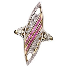 Antique Victorian French 18K Yellow Gold Platinum Rose Cut and Ruby Navette Ring