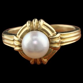Vintage Tiffany & Co. 18K Yellow Gold Pearl Ring