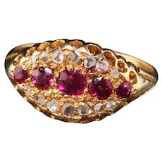 Antique Victorian English 18K Yellow Gold Ruby and Rose Cut Diamond Ring