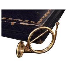 Antique Art Deco 14K Yellow Gold Fox Hunt Horn Pin