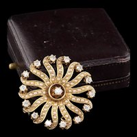 Vintage Victorian 14K Yellow Gold Diamond and Seed Pearl Pin