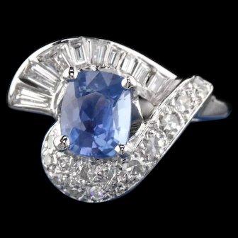Vintage 14K White Gold, Burma No Heat Sapphire & Diamond Ring