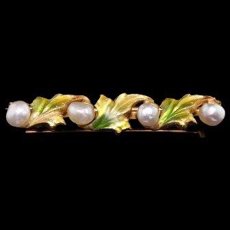 Antique Art Nouveau 14K Yellow Gold, Pearl and Enamel Leaf Bar Brooch