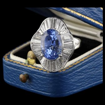 Vintage Platinum, Diamond & Ceylon No-Heat Sapphire Cocktail Ring