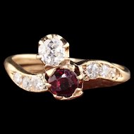 Antique Victorian 14K Rose Gold 'Toi Et Moi' Ruby & Diamond Engagement Ring