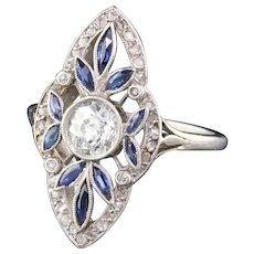 Antique Edwardian Platinum French Diamond & Sapphire Navette Engagement Ring