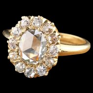 Antique Victorian 18K Yellow Gold Rose Cut Diamond Cluster Engagement Ring - GIA Certified!