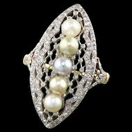 Edwardian French 18K Yellow Gold and Platinum, Diamond & Natural Pearl Ring