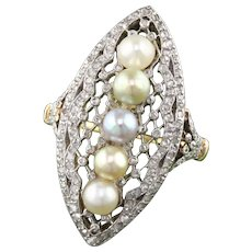 Antique Edwardian French 18K Yellow Gold, Platinum Top, Rose Cut Diamond & Natural Pearl Navette Ring