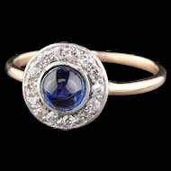 Antique Edwardian 14K Yellow Gold, Platinum Top Diamond & Cabochon Sapphire Ring
