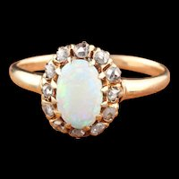 Antique Victorian 14K Yellow Gold Opal & Rose Cut Diamond Cluster Ring