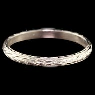 Art Deco 14K White Gold Engraved Wedding Band - Size 6.5